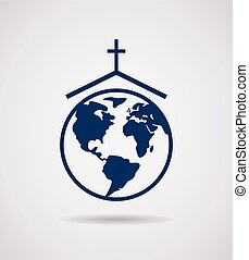 vector, icono, de, iglesia