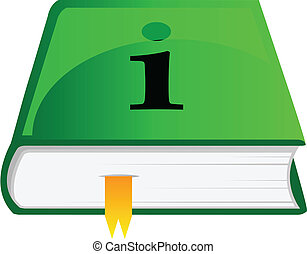 vector, icono, de, información, libro