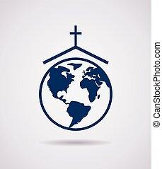 vector, icono, iglesia
