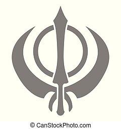 vector, icono, khanda
