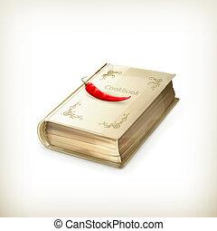 vector, icono, libro de cocina