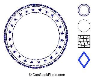 vector, icono, marco, redondo, mosaico, starred, cuadrado