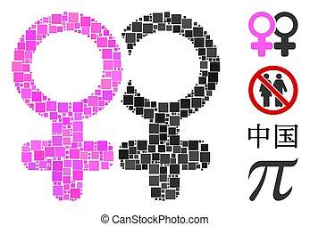 vector, icono, par, símbolo, lesbi, collage, cuadrado