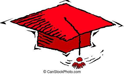 vector, icono, tapa graduación