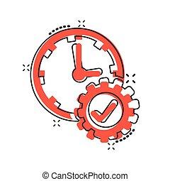 vector, icono, tiempo, cómico, caricatura, engranaje, ...