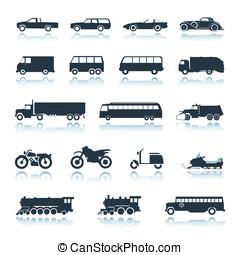 vector, icono, vehículos