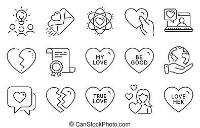 vector, iconos, conjunto, interrupción, bueno, amigos, amor, tal, ser, chat., arriba