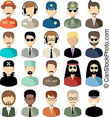 vector, iconos, conjunto, plano, men., ilustración