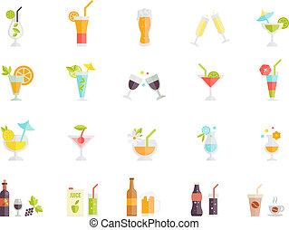 vector, iconos, de, cócteles, y, bebidas
