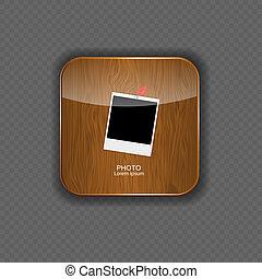 vector, iconos, foto, ilustración, aplicación, madera