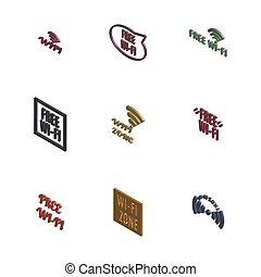 vector, iconos, radio, conjunto, 3d, illustration.