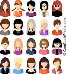vector, iconos, women., conjunto, plano, ilustración