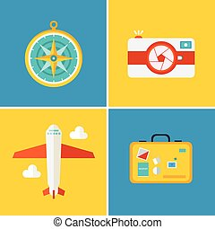 Vector icons and concepts in flat style - travel and vacation