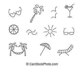 Vector icons are a symbol of summer. Sun palm glasses hammock chaise longue seagulls cocktail lemon umbrella.