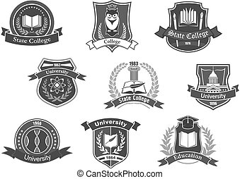 Vector icons badges set for college or university
