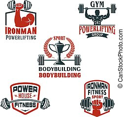 Vector icons bodybuilding gym or powerlifting club - Gym or...