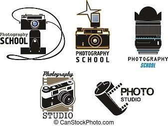 Vector icons camera film for photo studio school