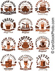 Vector icons coffeeshop of coffee cups or beans - Coffeeshop...