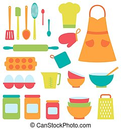 Cute vector icons collection on baking theme