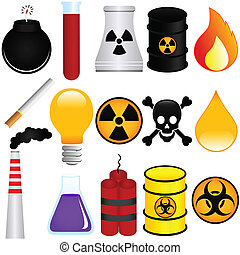 Poison, Explosive, Chemical - Vector Icons : Dangerous ...
