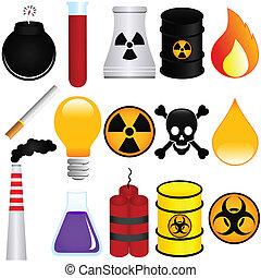 Vector Icons : Dangerous Poison, Explosive, Chemical, Pollution