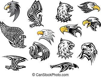 Vector icons eagle hawk bird for mascot or tattoo - Eagle or...