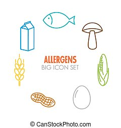 Vector icons for allergens - Vector icons set for allergens...