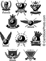 Billiards club or poolroom sport game vector icons set. Badges for pool play championship awards or contest tournament with symbols of cues and balls, champion winner laurel wreath with victory crown and stars