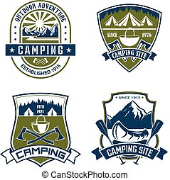 Vector icons for camping site mountain adventure