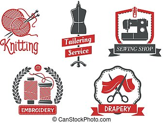 Vector icons for dressmaker knitting atelier salon