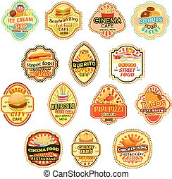 Vector icons for fast food restaurant menu