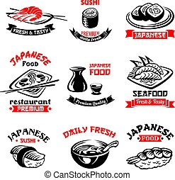 Vector icons for Japanese sushi food restaurant - Sushi...