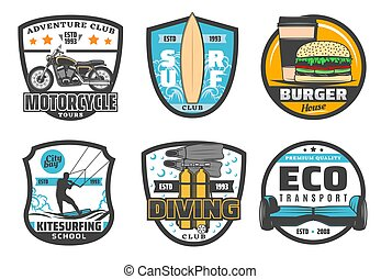 Vector icons for leisure and sport hobby