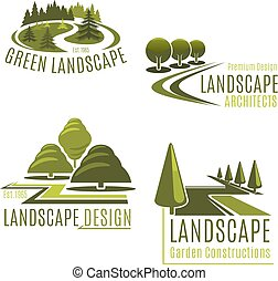 Vector icons for nature landscaping company - Gardening or...