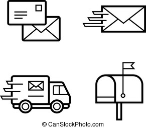 Vector icons for postal and delivery service