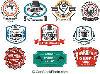 Vector icons for premium barber shop salon