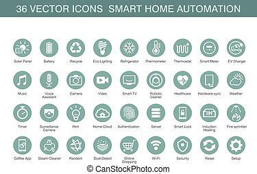 Vector icons for smart home automation.