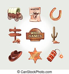 Vector icons for Wild West computer game. Cowboy objects in...