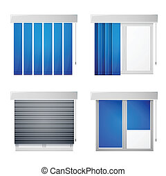 Gray windows with differend types blue louvers. Set of vector icons on white background.