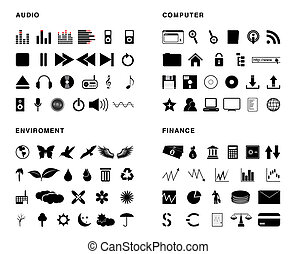 Vector icons - Four vector thematic package, 90