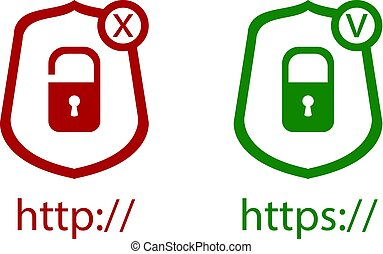 Vector Icons: http and https Protocols with Lock, Green and Red Icons, Check and Cross: Right and Wrong Symbols.
