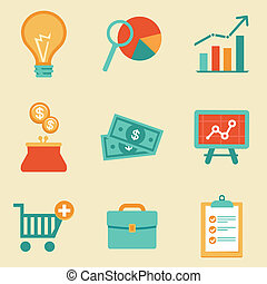 Vector icons in flat retro style - finance and business...