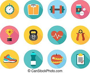 Vector icons in flat style healthy sport and training