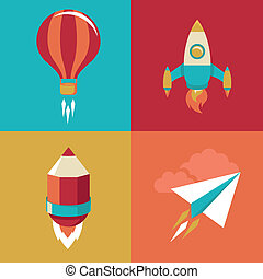 Vector icons in flat style - start up and launch. Trendy...