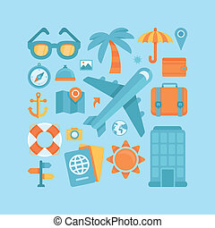 Vector icons in flat style - travel - Vector icons and...