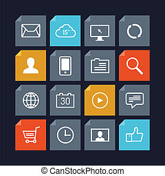 Vector icons in metro style - Flat design vector icons of...