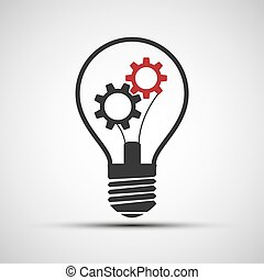 Vector icons light bulb with mechanical gears
