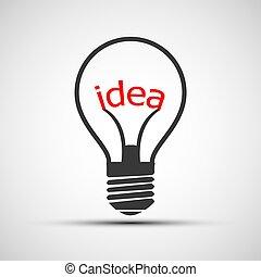 Vector icons light bulb with the word idea