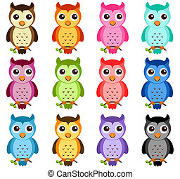 Vector Icons: Night Owls - A colorful Theme of cute vector...