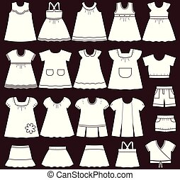 Vector icons of baby clothes for girls.